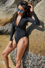 Load image into Gallery viewer, Black sports long sleeve surfing triangle one-piece swimsuit zipper sexy slim conservative swimsuit