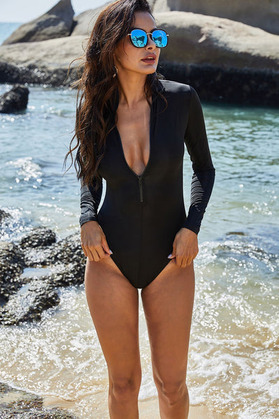 Black sports long sleeve surfing triangle one-piece swimsuit zipper sexy slim conservative swimsuit