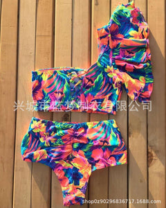 Retro High Waist Floral Bikini One-shoulder Ruffled Print Swimsuit