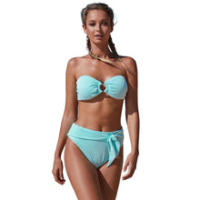 Load image into Gallery viewer, Summer Bikini Strapless Striped High Waist Split Swimsuit