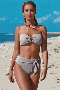 Summer Bikini Strapless Striped High Waist Split Swimsuit