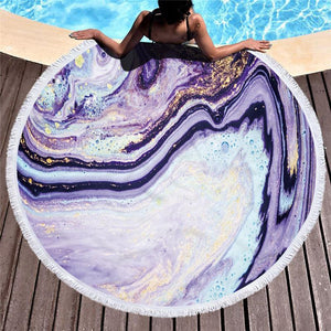 Big Round Beach Towel Colorful Quicksand Print Shower Bath Towels Beach Mat