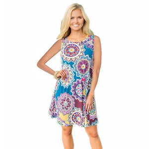 Boho Printed Sleeveless Pullover Dress