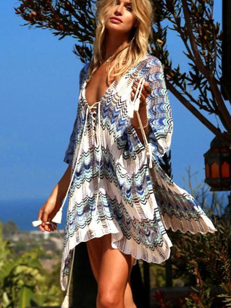 Boho Knit Beach Blouse Hollow Color Matching Swimsuit Holiday Sun Protection Clothing Dresss