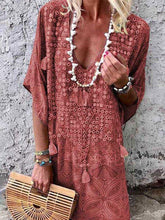 Load image into Gallery viewer, Bohemian V-neck Print Midi Dress