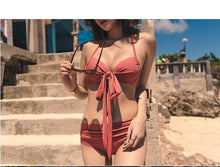 Load image into Gallery viewer, Bikini Two-piece Gathered Sexy Braised Cross Straps Split Swimsuit