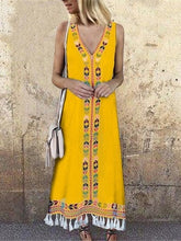 Load image into Gallery viewer, Bohemian V-neck Print Tassel Holiday Long Dress