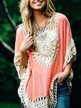 Load image into Gallery viewer, Bohemian Stitching Openwork Hook Beach Blouse