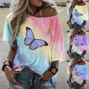 Women's Explosive Tops Fashion Loose Printed Short-sleeved T-shirt