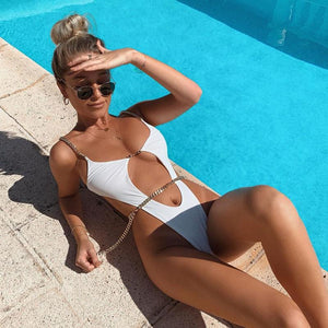Chain sexy swimsuit solid color bikini one-piece swimsuit