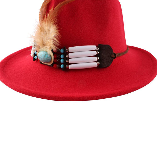 New Style Female Fashion British Bazz Feather Top Hat