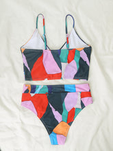 Load image into Gallery viewer, Sexy Multicolor Geometric Print V-neck Bikini Split Swimsuit Cross Swimsuit