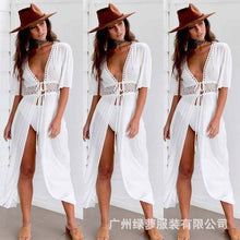 Load image into Gallery viewer, lace dress amazon fashion tie with white beach dress sexy jersey fake dress