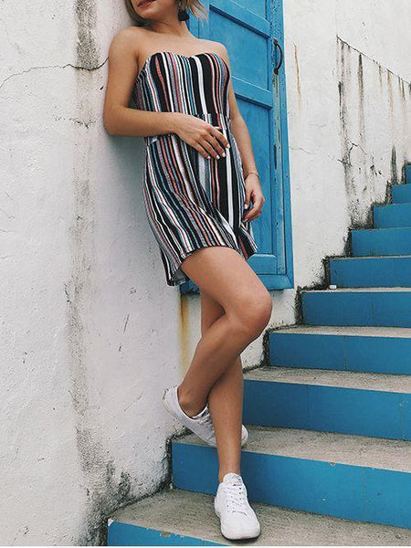Stripe Strapless Beach Rompers
