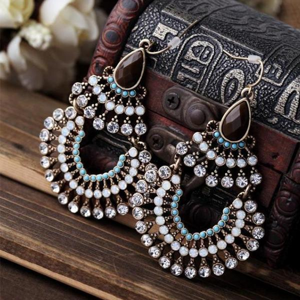 Bohemia Rhinestone & Resins Beads Large Dangling Earrings Jewelry