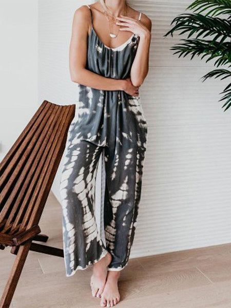 Casual Tie-dye Holiday Jumpsuit Spaghetti-Strap Romper