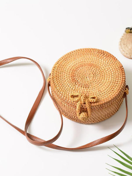 2018 Fashion Round Rattan Butterfly Forest Handmade Bag