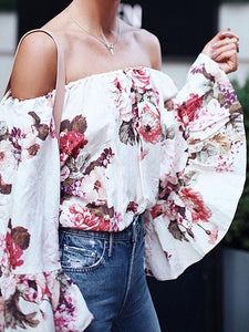 Floral Print Off The Shoulder Flare Sleeve Casual Top Blouse