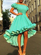 Load image into Gallery viewer, Green Polka Dot Off Shoulder Midi Dress