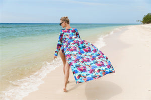 2018 Summer Printed Long Sleeve Cover Up One Shoulder Swimsuit Two Pieces Set
