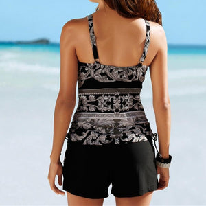 Two Piece Swimwear Women Plus Size Tankini Swimsuits with Shorts V neck Tankinis Set Swim Wear Black Print Bathing Suit 2XL
