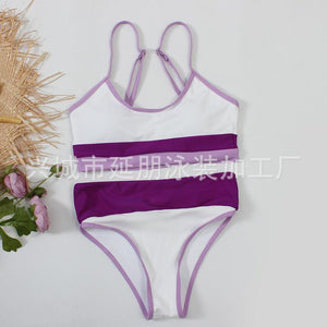 Split Solid Two Shoulder Bikini Women's Sexy Color Matching Swimsuit