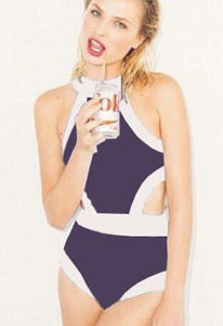 New Black and White Color Matching One-piece Swimsuit