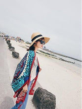 Load image into Gallery viewer, Blue Women Bohemia Floral Tassels Scarf&Cap