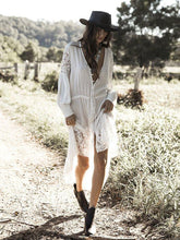Load image into Gallery viewer, Bohemian Holiday Lace Stitching Cover-up Long Dress