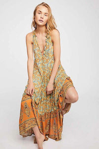 Print V Neck Sleeveless Bohemia Maxi Dress