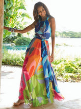 Load image into Gallery viewer, Popular Floral-Print Straps Cross Neck Sleeveless Beach Maxi Dress