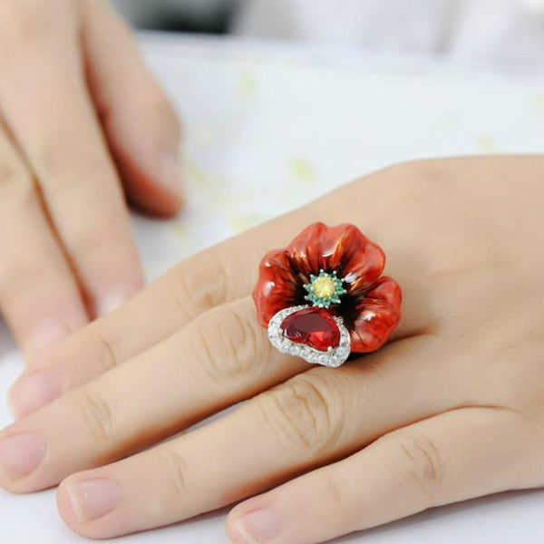 Enamel Cloisonne Red Flower Leaf Heart Cubic Zirconia Luxury Jewelry For Women Big Gift For Girls Engagement Rings
