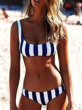 Load image into Gallery viewer, Blue Stripe Two-Piece Swimming Suit