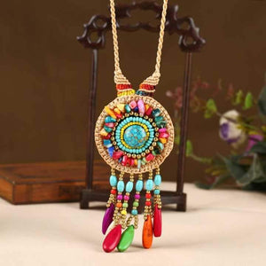 Hand-woven Folk Style Tibet Spike Long Necklace