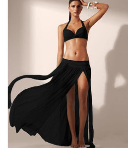 Sexy High Waist Split Net Yarn Beach Maxi Skirt