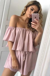 2018 new arrival Off shoulder Ruffle spilled shoulder jumpsuit