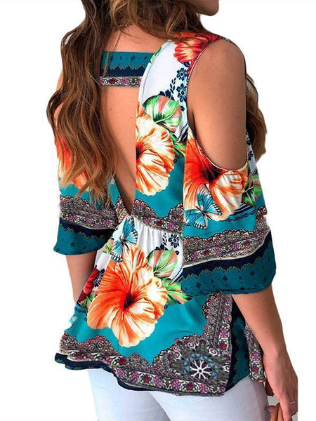 Summer Hot  Women Clothes  Casual Leisure Floral Shirt V Neck Tops Half Sleeve Blouse  Beach