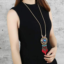 Load image into Gallery viewer, Hand-woven Folk Style Tibet Spike Long Necklace