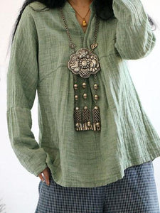 Solid Color Long Sleeve Linen Cotton Loose Tops Blouse