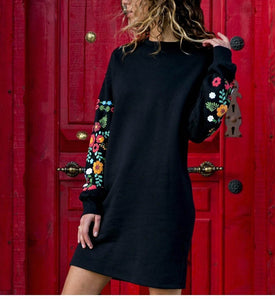Round Neck Floral Long Sleeve Mini Dress