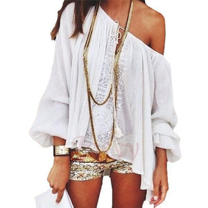 Boho Off Shoulder Loose Long Sleeve Stitching Chiffon Shirt Tops