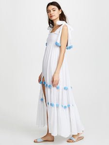 2018 Summer Boho Pompoms Split Beach Maxi Dress