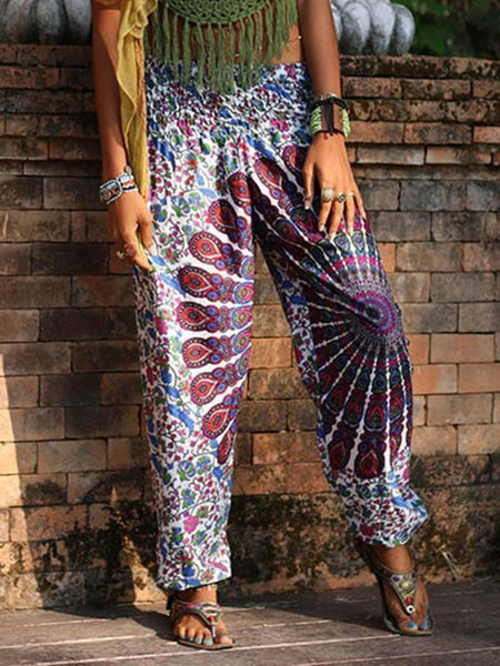 Boho Fashion 2 Colors Elastic Waist Wide Leg Casual Pants
