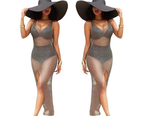 Sexy Hollow Sleeveless Split Swimwear Bikini Beach Cover Up