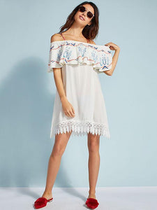 Off Shoulder Lace Beach Bikini Cover Up