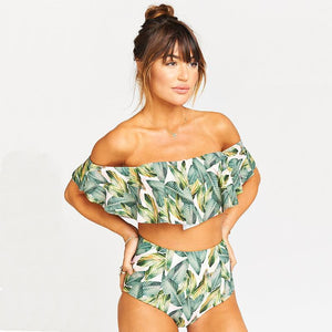 Strapless High Waist Floral Printed Off-the-shoulder Ruffled Swimsuit