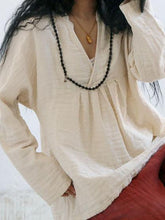 Load image into Gallery viewer, Solid Color Long Sleeve Linen Cotton Loose Tops Blouse