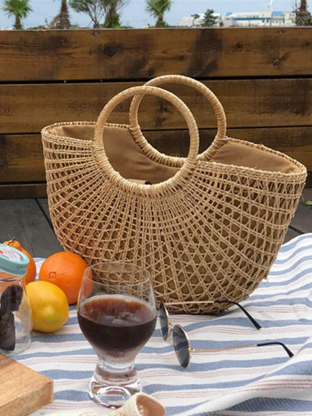 New Beach Portable Simple Moon Hollow Straw Bag