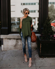Load image into Gallery viewer, Solid Color Off Shoulder Irregular Tops