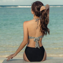 Load image into Gallery viewer, Black and White Women's Swimsuit Sexy Cross Tie One Piece Triangle Tie Bikini Beach Resort Swimsuit